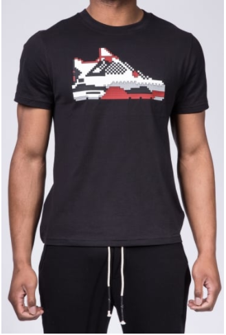 Black t shirt with sneaker on front