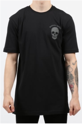 black t-shirt with small skull detailing