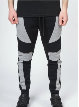 black and grey panelled sweat pants