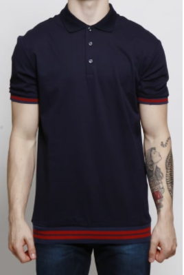 blue and red men's polo shirt