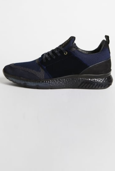 Blue trainer featuring unique technology in foam memory sole that learns walking style and movement so that it can offer maximum comfort. A combination of soft suede and thin textured yarn makes the shoe lightweight and breathable.
