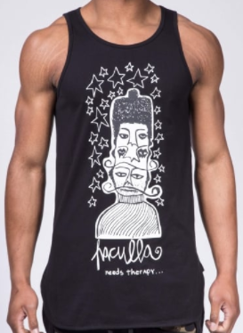 black haculla mens vest top, with stars and cartoon characters detailing and the haculla logo branded