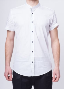 white male collarless shirt, with black buttons and rolled up sleeves