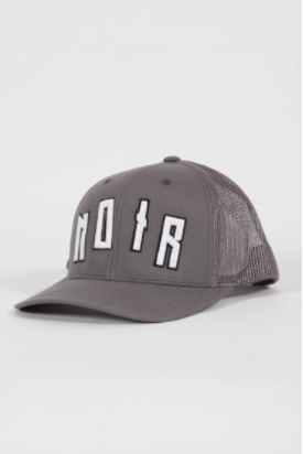 grey societe noir baseball cap with mesh detailing, and a white writing