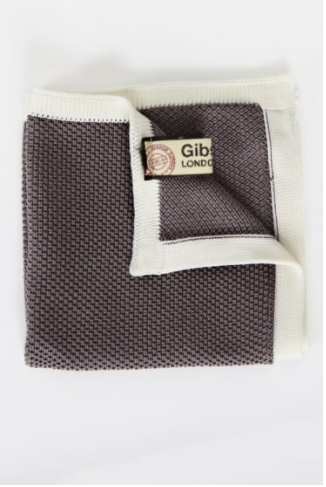 brown pocket square with white outline and knitted detailing
