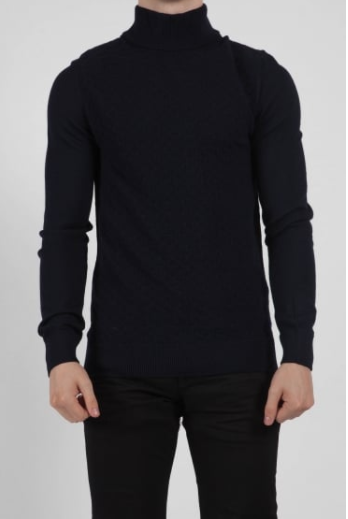 male model wearing a navy turtle neck