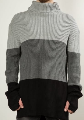 male model wearing block colour turtle neck sweatshirt
