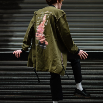 model wearing khaki jacket