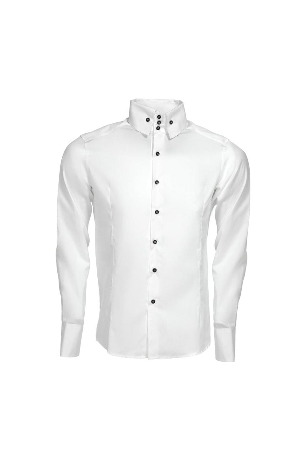 Intro 001 3 button high collar shirt white men 39 s for Mens button collar shirts