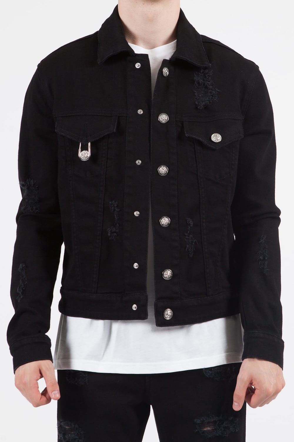 vivid and great in style enjoy lowest price diverse styles Pin Pocket Denim Jacket Black