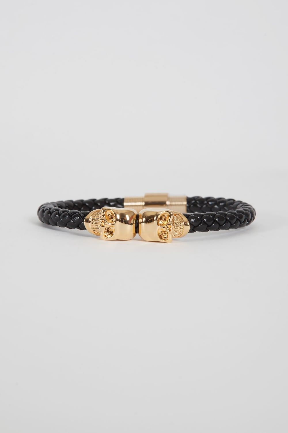 diamond lab skull in black finish gold img leather simulated band mens bracelet itm