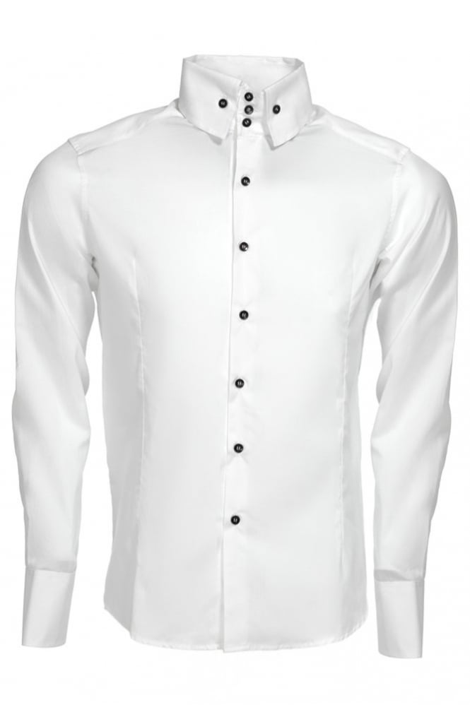 Intro 001 3 Button High Collar Shirt White