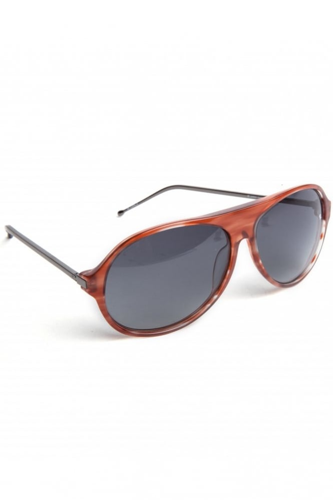 Linda Farrow X Raf Simons Acetate Aviator Sunglasses Burgundy