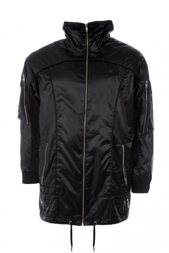 SkinGraft Long Windbreaker Jacket Black