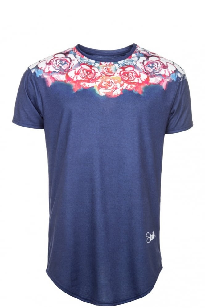 Sik Silk Floral Water T-Shirt Blue