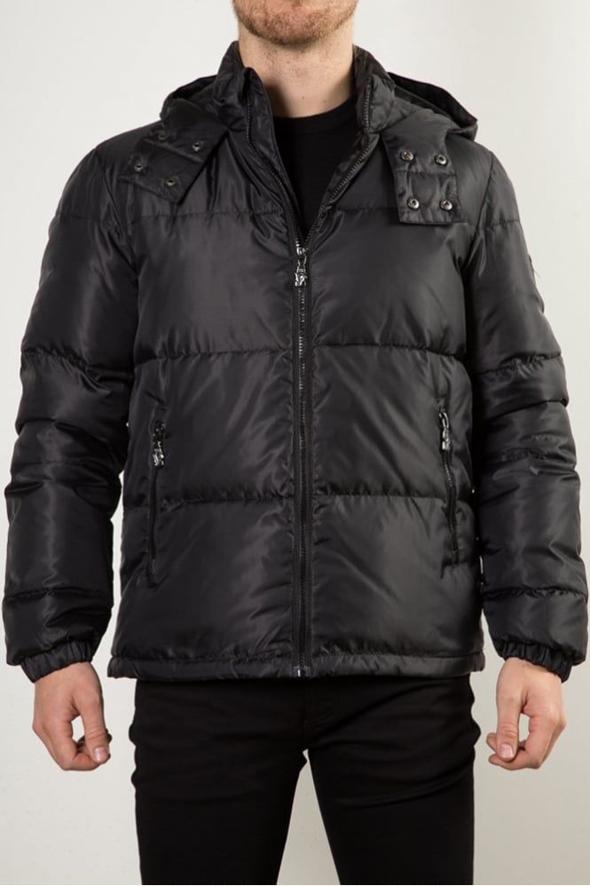 Versace Jeans Quilted Hooded Jacket Black