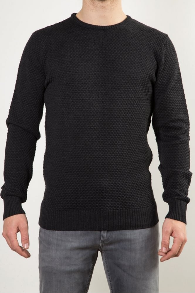 Remus Uomo Textured Crew Neck Sweater Charcoal