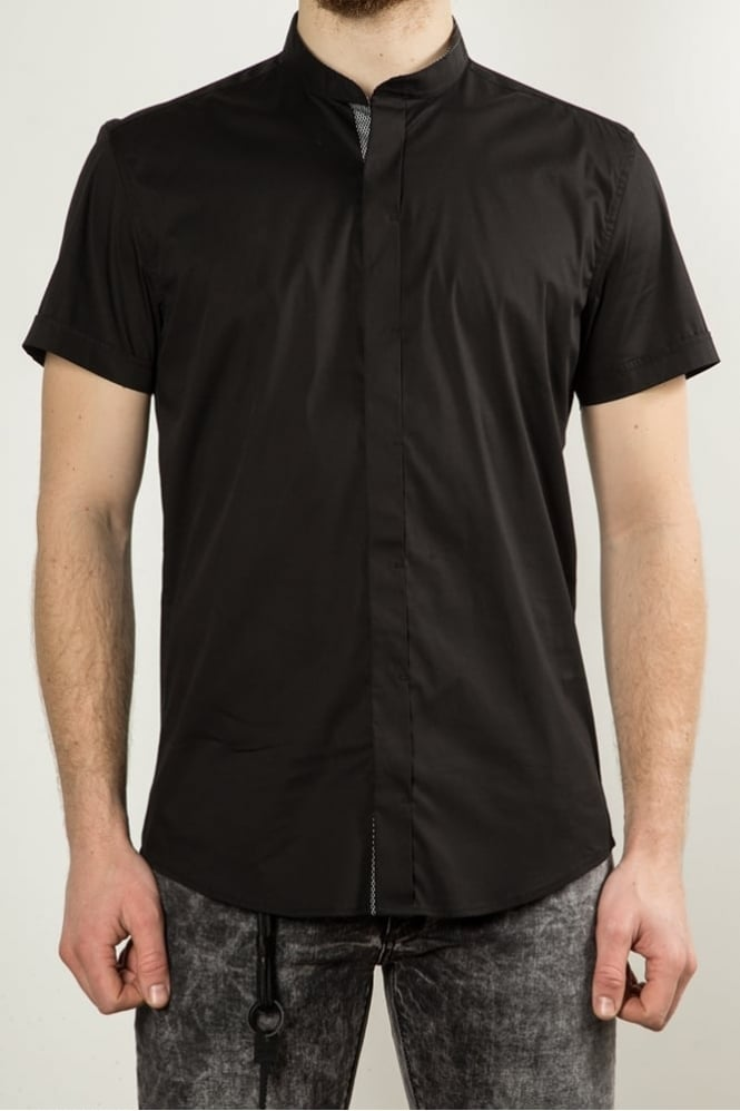 Antony Morato Short Sleeve Grandad Shirt Black