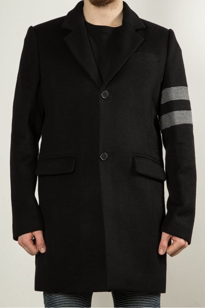 Underated Wool Blend Overcoat Black