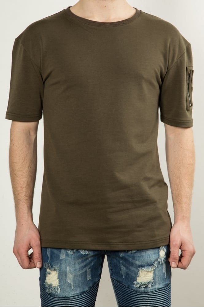 Underated Drop Shoulder Utility T-Shirt Khaki