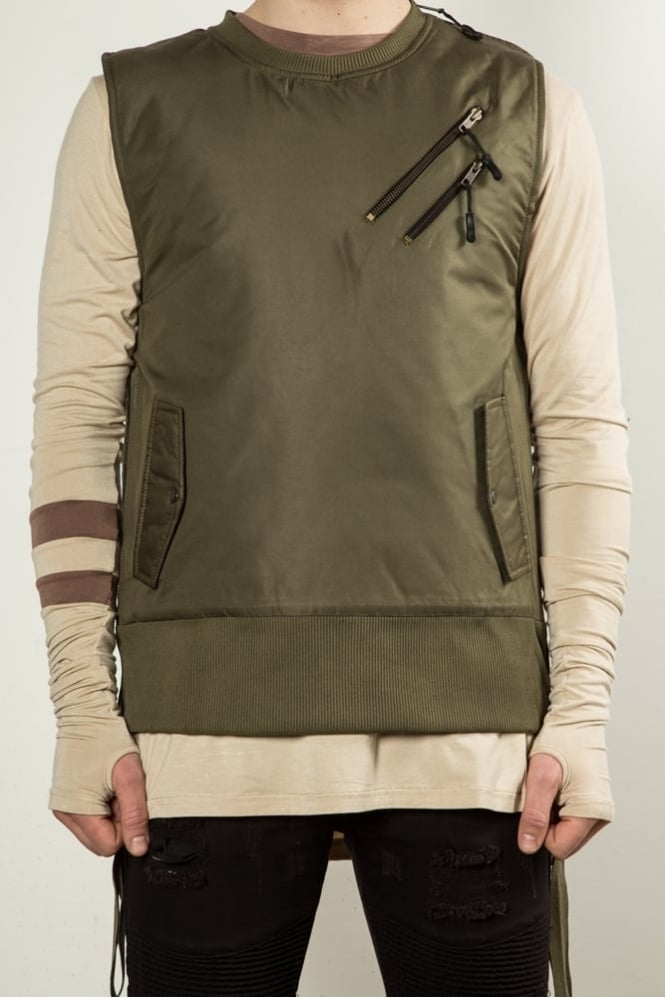 Underated Strapped Bomber Vest Olive