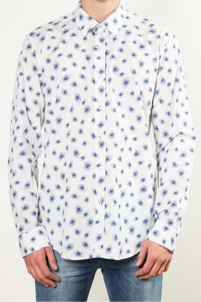 One Like No Other Edo Blue Floral Print Shirt Blue