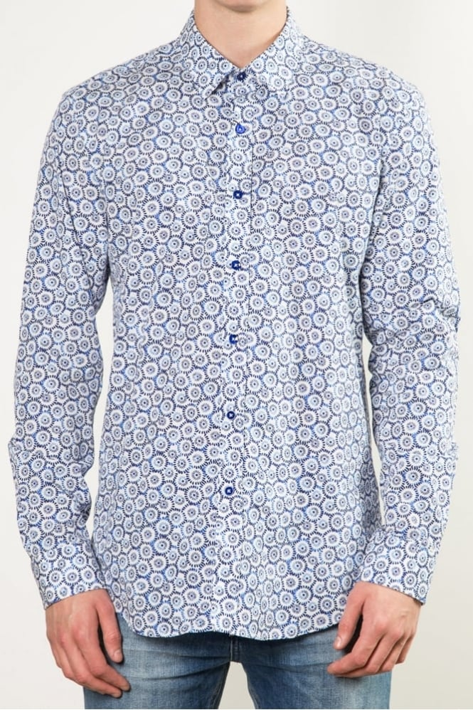 One Like No Other Nikko Japanese Floral Shirt Blue