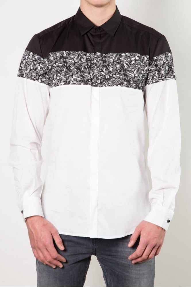 Antony Morato Panel and Print Shirt Black/White