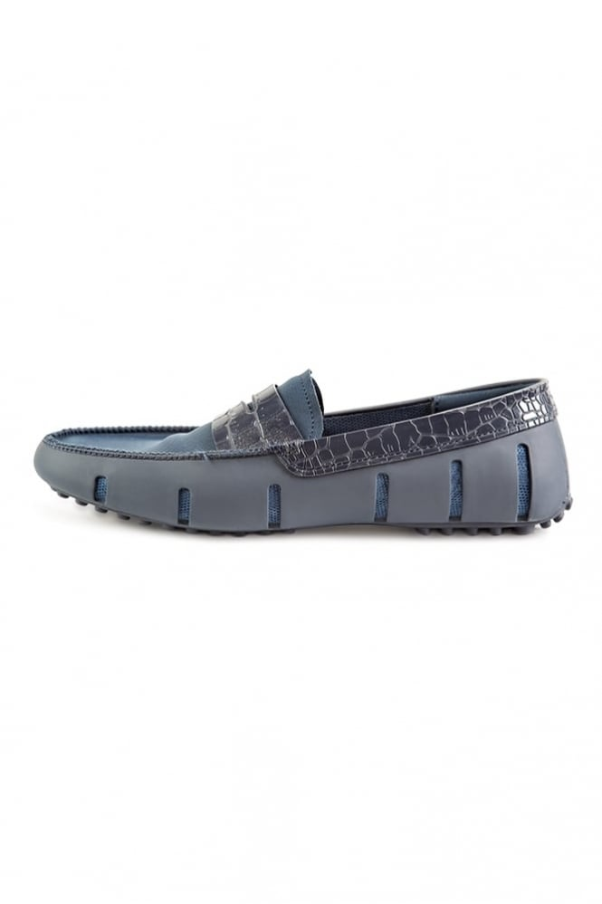 Swims Penny Alligator Loafers Navy