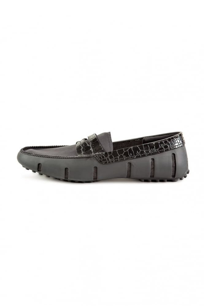 Swims Penny Aligator Loafers Black
