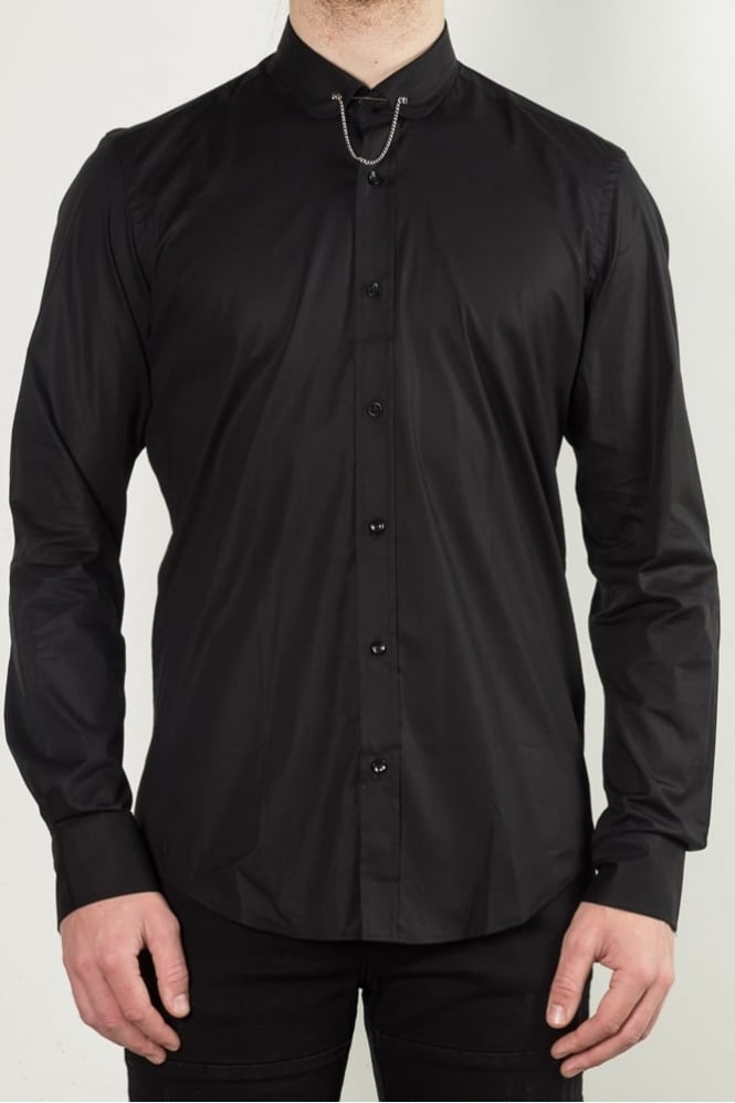 Simon + Simon Pin Collar Shirt Black