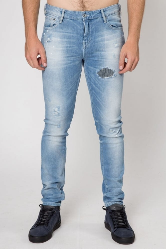 Scotch & Soda Skim Sundrench Paint Jean Light Blue