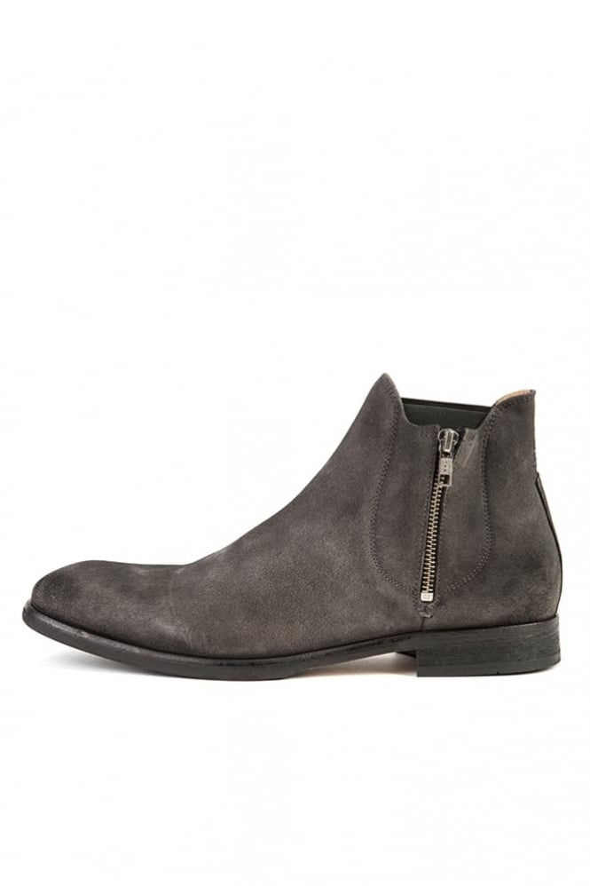 Hudson London Mitchell Leather Zip Boot Charcoal