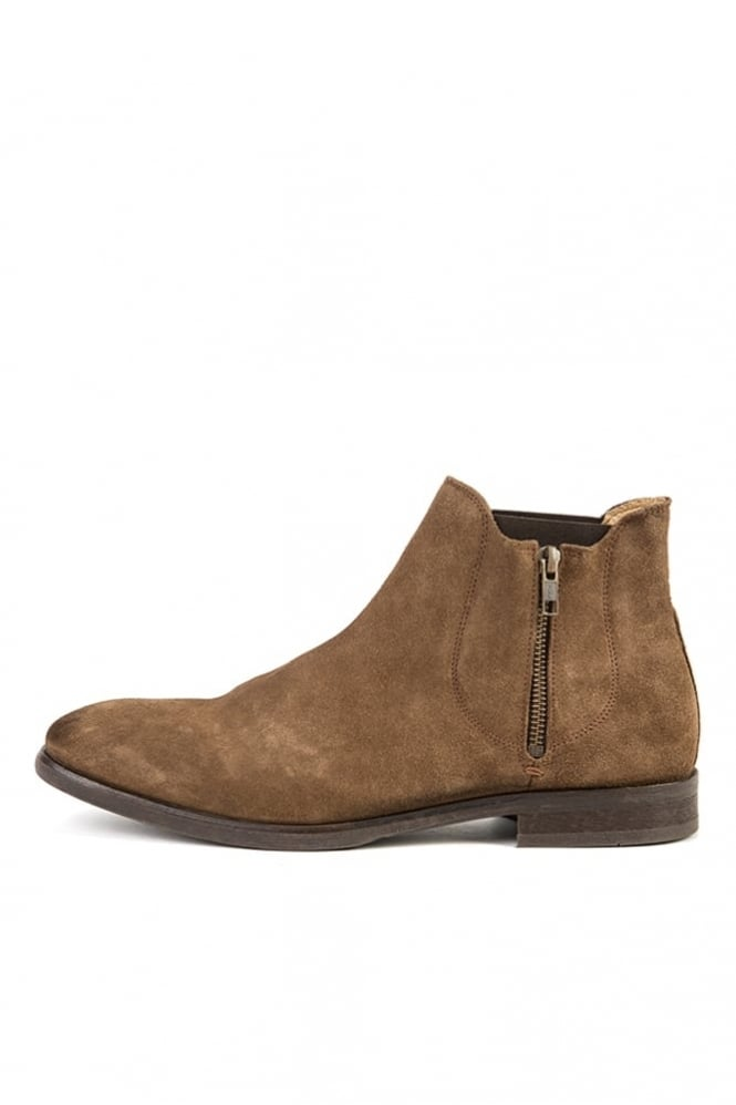 Hudson London Mitchell Leather Zip Boots Tobacco
