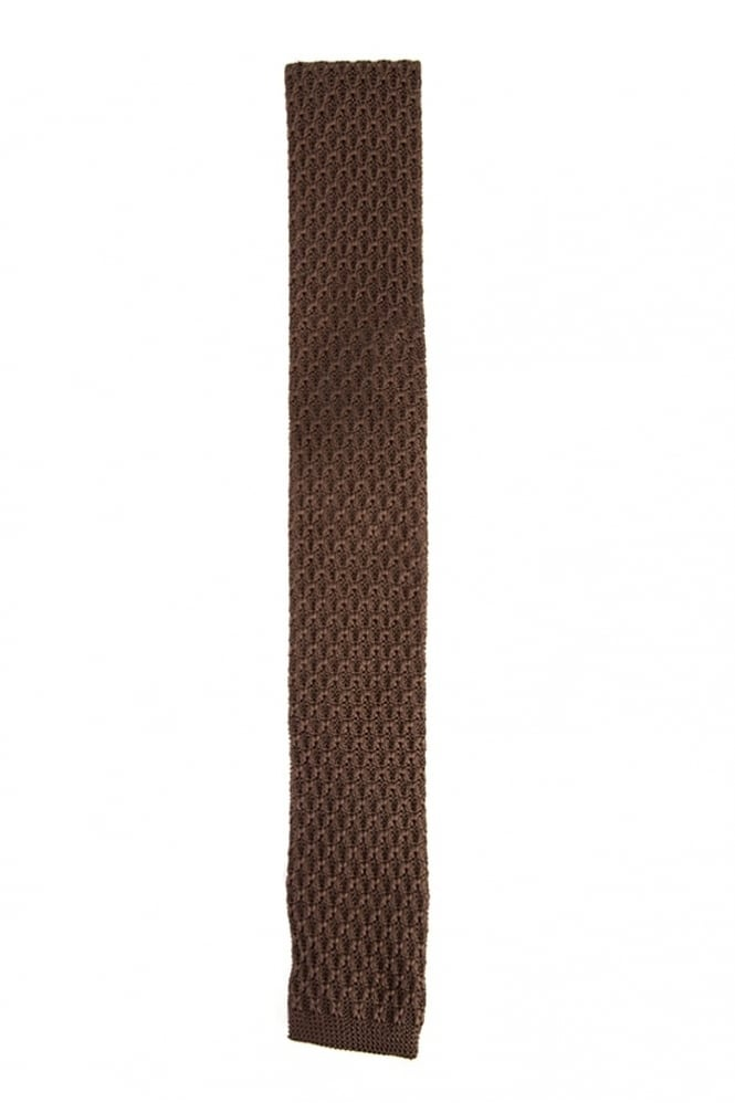 Gibson Knitted Tie Dark Brown