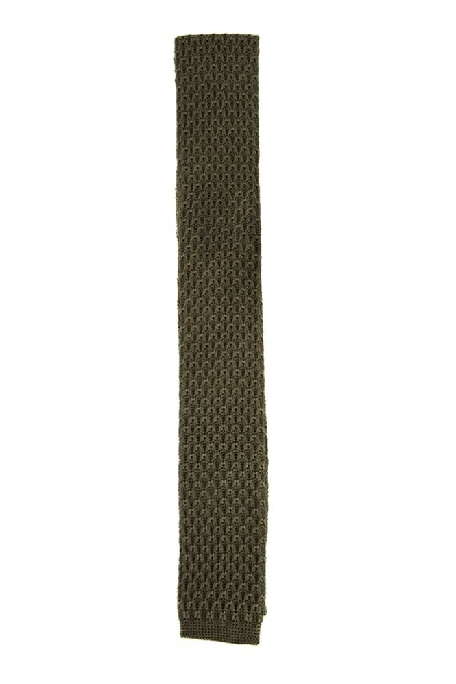 Gibson Knitted Tie Olive