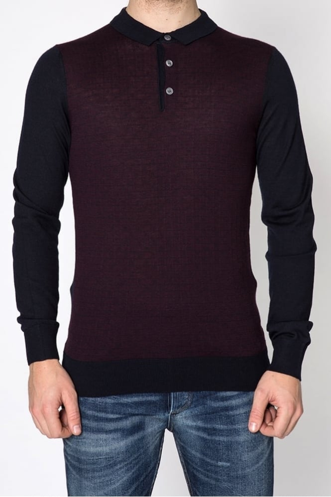 Remus Uomo Knitted Polo Shirt Navy
