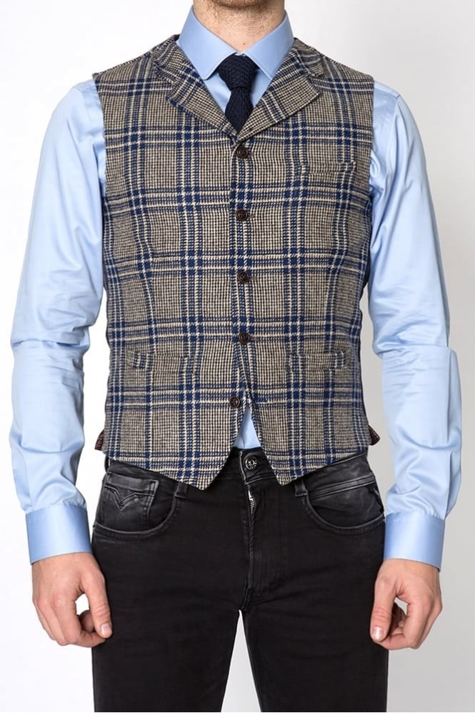 Gibson Bold Check Waistcoat Taupe