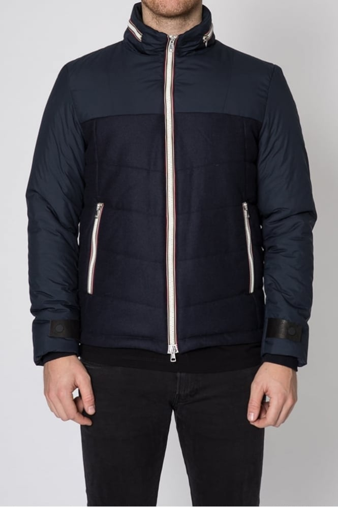 Low Brand Geppi Flannel Padded Jacket Navy