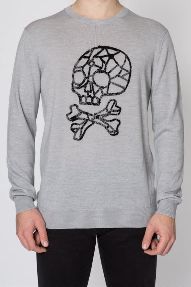 Markus Lupfer Bead Skull Jason Sweater Grey