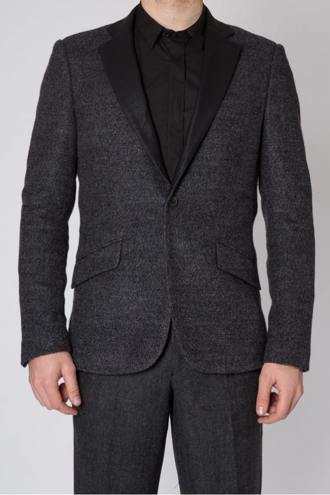 Antony Morato Faux Leather Lapel Blazer Dark Grey