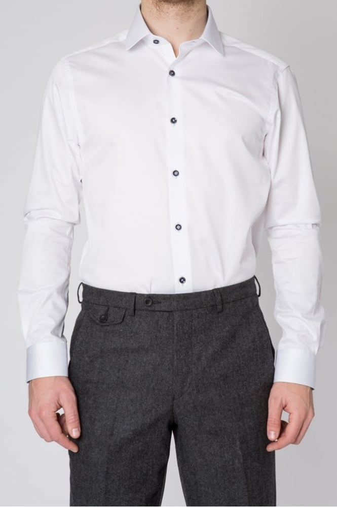 Remus Uomo Lucas Plain Slim Fit Shirt White