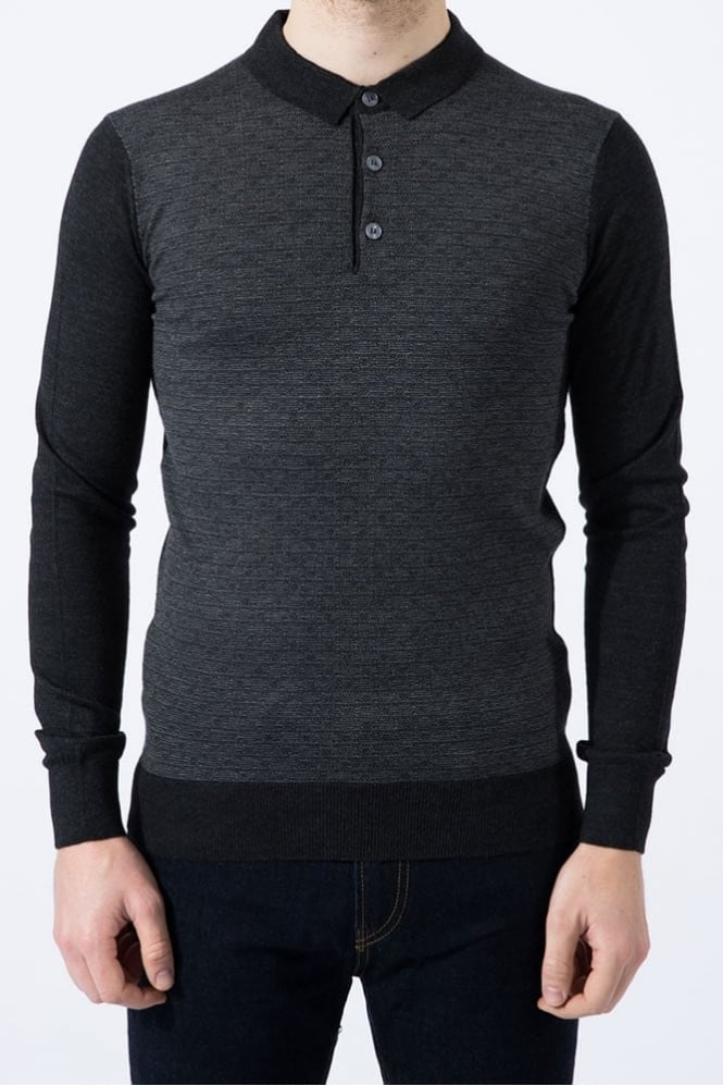 Remus Uomo Knitted Polo Shirt Dark Grey