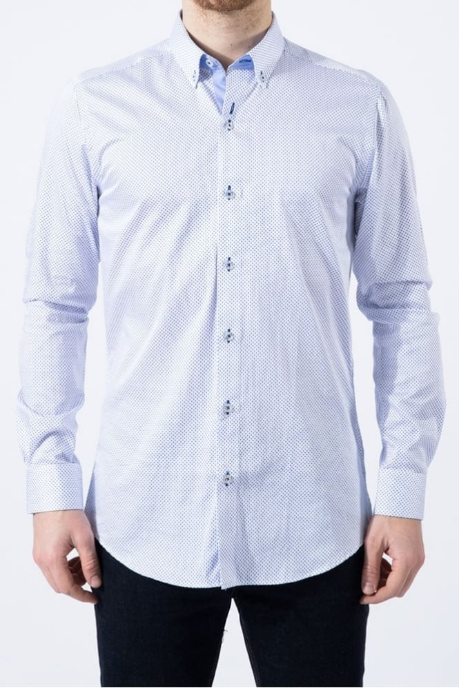 Remus Uomo Ashton Dot Shirt White