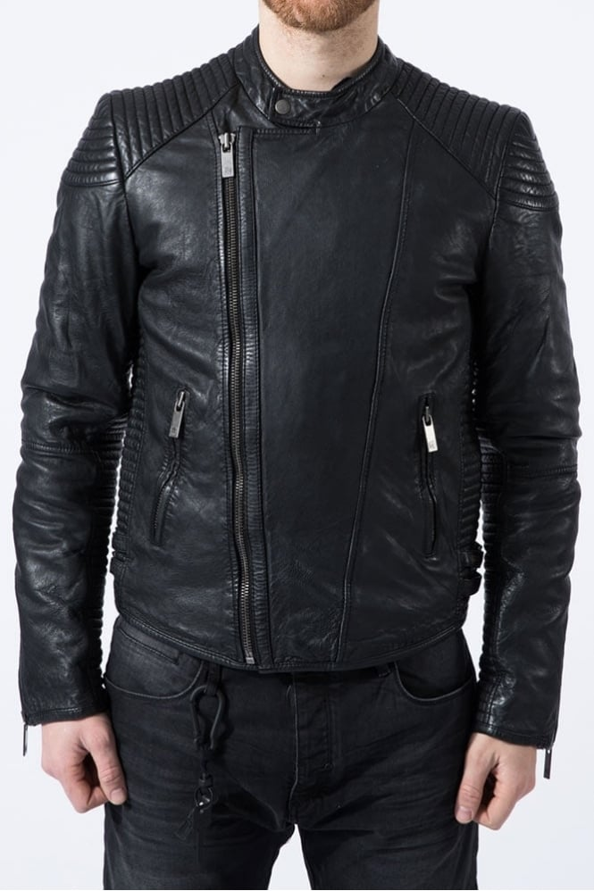 Scotch & Soda Leather Biker Jacket Black