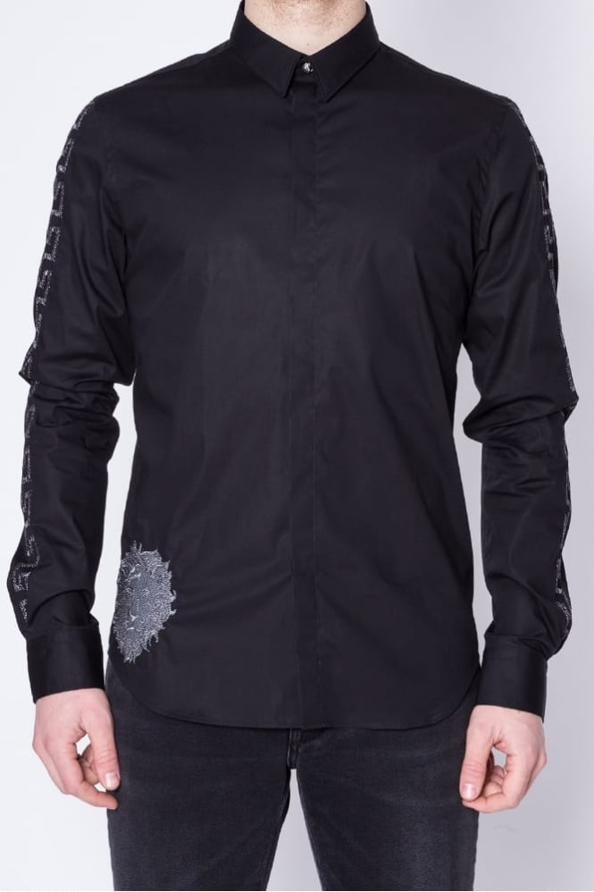 Versus Versace Arm Embroidery Detail Shirt Black