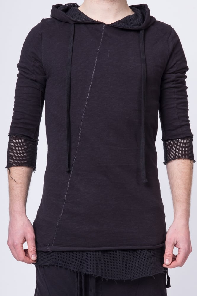 Thom Krom Double Layer Mesh Detail Hoodie Black