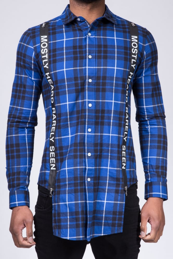 Mostly Heard Rarely Seen Suspender Runner Plaid Shirt Blue