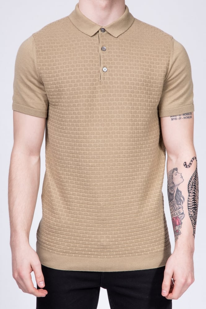Remus Uomo Slim Fit Knitted Polo Shirt Beige