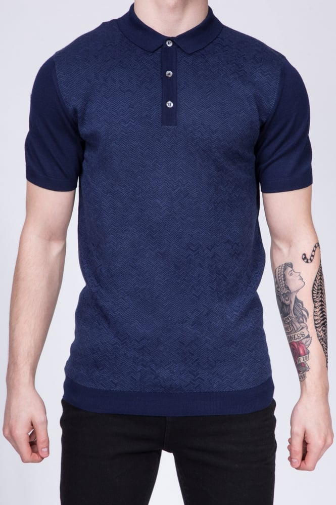 Remus Uomo Slim Fit Knitted Polo Shirt Navy